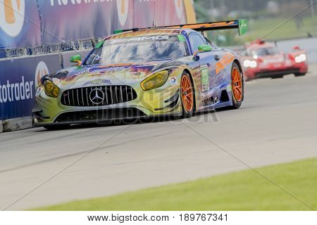 June 02, 2017 - Detroit, Michigan, USA:  The SunEnergy 1 Racing Mercedes AMG GT3 races through the turns at the Chevrolet Sports Car Classic at Belle Isle Street Course in Detroit, Michigan.