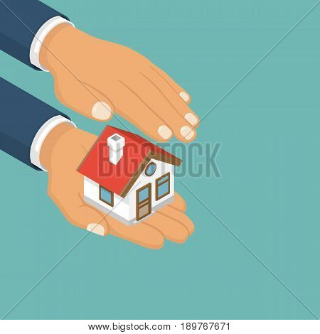 Isometric home in hand. Property insurance icon. Vector illustration modern flat design. Insurance agent holding of house.