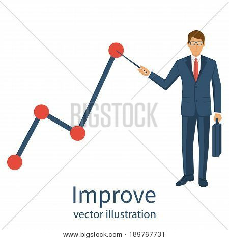 Improve business concept. Changing direction. Growth graph trade. Vector illustration. Profit Stock Market. Man hold in hand business chart. Financial diagram. Businessman in suit present growth chart