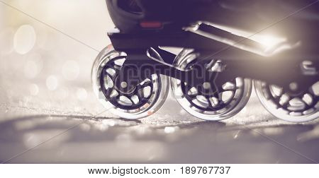 Background with the road and wheels of roller skates closeup in the rays of the sun.