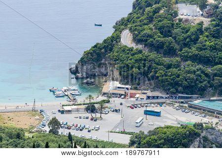 PALEOKASTRITSA, GREECE - MAY 15: Aerial view of Paleokastritsa coast from Bella Vista on May 15, 2017 in Paleokastritsa resort, Corfu island in Greece.