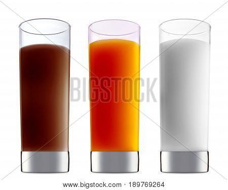 Pina colada, white russian, Irish Cream chocolate Liqueuron, mimosa fresh fruit alcohol cocktail or mocktail in classic glass with blue white and orange beverage isolated on white background