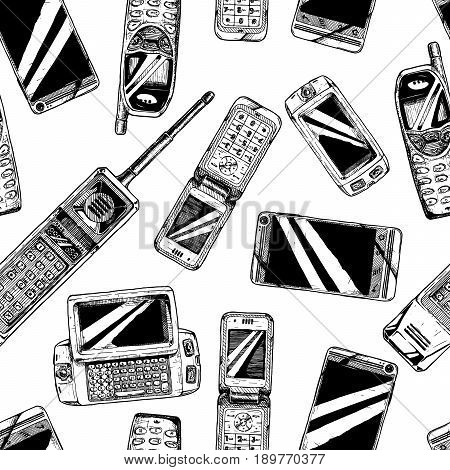 Seamless black-and-white pattern with mobile phone. Vector illustration in vintage engraved style on white background.