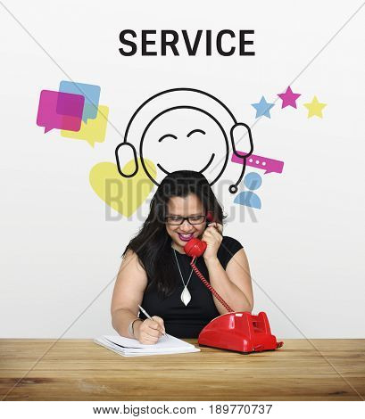 Woman with illustration of contact us online customer services