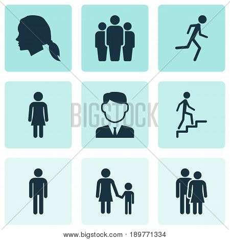 People Icons Set. Collection Of Ladder, Beloveds, Running And Other Elements. Also Includes Symbols Such As Climbing, Team, Work.