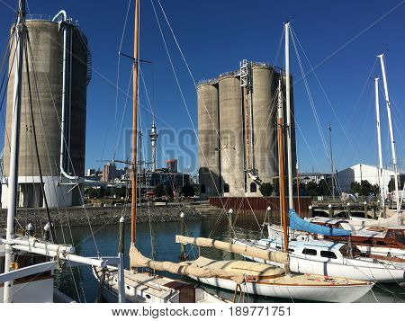 Classic Yachts Mooring In Wynyard Quarter In Auckland New Zealand