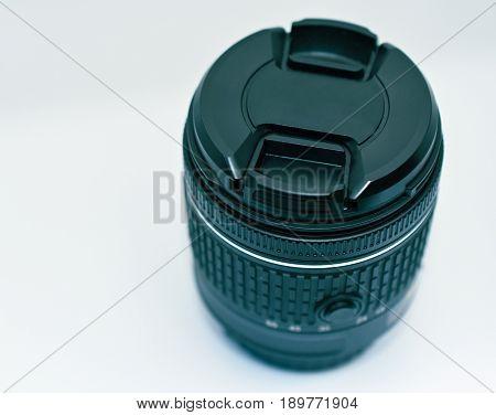 Stock closeup of generic 18-55mm DSLR camera lens for illustration purposes