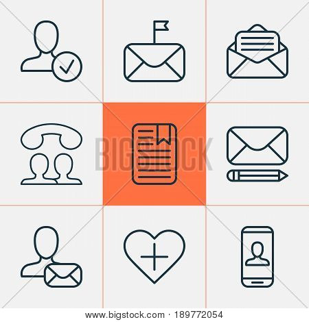 Communication Icons Set. Collection Of Online Letter, Speaking People, Confirm Profile And Other Elements. Also Includes Symbols Such As Pen, Profile, Page.