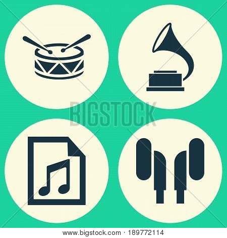 Multimedia Icons Set. Collection Of Earmuff, File, Phonograph And Other Elements. Also Includes Symbols Such As Headphone, Gramophone, File.