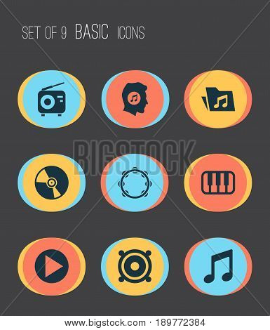 Audio Icons Set. Collection Of Megaphone, Timbrel, Dossier And Other Elements. Also Includes Symbols Such As Lover, Folder, Piano.
