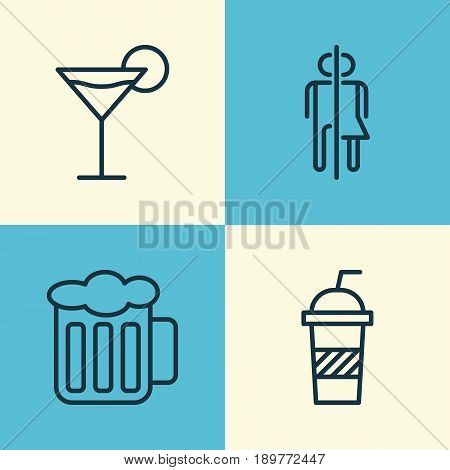 Restaurant Icons Set. Collection Of Ale, Cocktail, Restroom And Other Elements. Also Includes Symbols Such As Restroom, Martini, Pint.