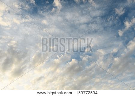 Blue Sky With White Cloud Occupying Full Of The Frame