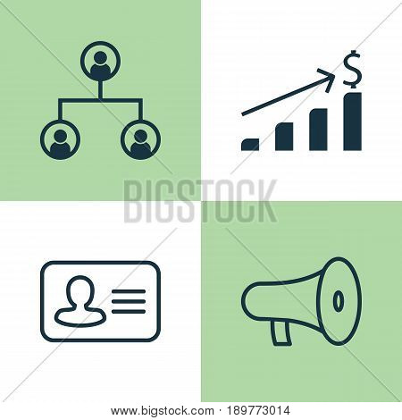 Resources Icons Set. Collection Of Bullhorn, Tree Structure, Personal Badge And Other Elements. Also Includes Symbols Such As Increase, Personal, Speaker.