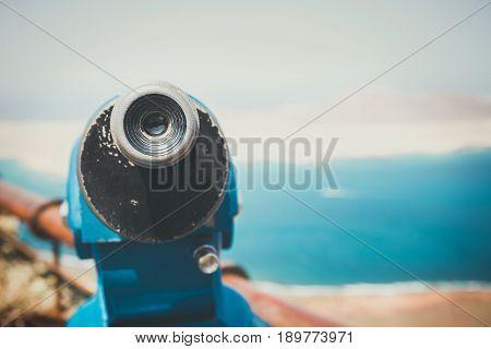 Telescope And Panoramic View At La Graciosa Island From Mirador Del Rio Viewpoint.