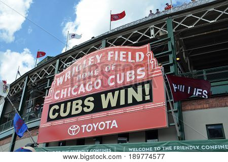 CHICAGO - MAY 29: Sign on Wrigley Field home of the Chicago Cubs is shown here on May 29 2016 after their7-2 win against the Philadelphia Phillies.