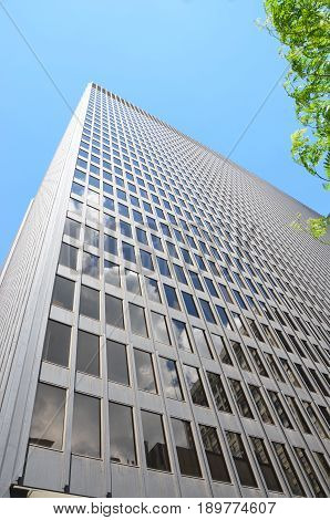 CHICAGO - MAY 29: The Dirksen Federal Building in Chicago is shown here on May 29 2016. This example of minimalist architecture was designed by architect Ludwig Mies van der Rohe