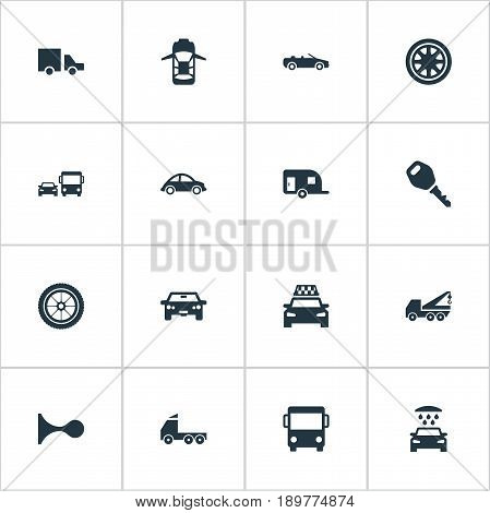 Vector Illustration Set Of Simple Transport Icons. Elements Transport Cleaning, Private Vehicle, Tour Bus And Other Synonyms Rotation, Transportation And Key.