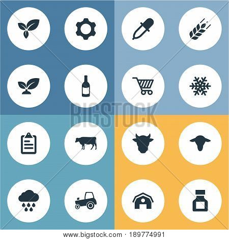 Vector Illustration Set Of Simple Agriculture Icons. Elements Sprout, Plant, Cart And Other Synonyms Farm, Rain And Beverage.