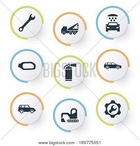 Vector Illustration Set Of Simple Car Icons. Elements Hoisting Machine, Spanner, Hatchback And Other Synonyms Crane, Servicing And Extinguisher.