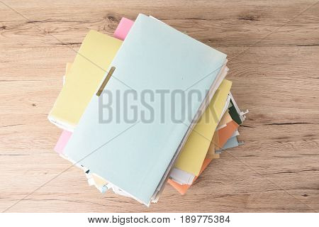 File Stack top view file folder pace on wood desk background