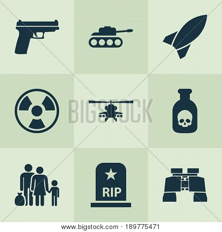 Combat Icons Set. Collection Of Missile, Dangerous, Panzer And Other Elements. Also Includes Symbols Such As Chopper, Glass, People.