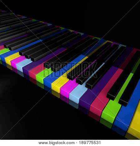 Rainbow piano keys of music device close frontal view 3d rendrer illustration