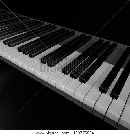 Piano keys of music device close frontal view 3d rendrer illustration