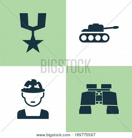 Combat Icons Set. Collection Of Glass, Panzer, Order And Other Elements. Also Includes Symbols Such As Military, Panzer, Gong.