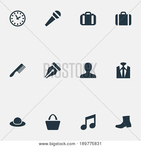 Vector Illustration Set Of Simple Accessories Icons. Elements Person, Music, Tuxedo And Other Synonyms Luggage, Chapeau And Tool.