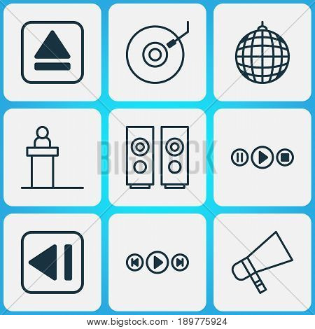 Multimedia Icons Set. Collection Of Dance Club, Audio Buttons, Extract Device And Other Elements. Also Includes Symbols Such As Hailer, Box, Bullhorn.