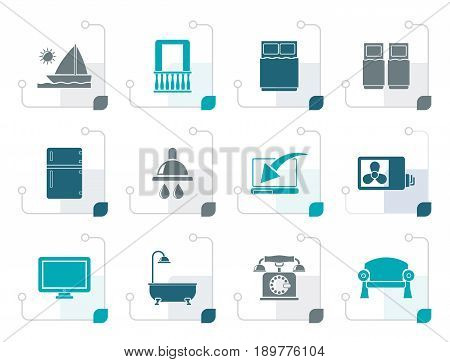 Stylized Hotel and motel room facilities icons - vector icon set