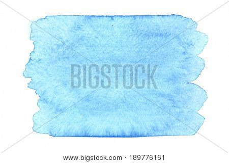 Blue watercolor stain isolated on the white background. Space for your own text