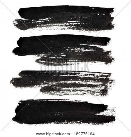 Black brush strokes isolated on the white background
