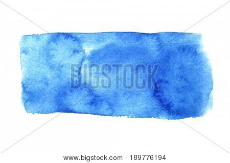 Blue watercolor rectangle isolated over the white background. Space for your own text. Raster illustration