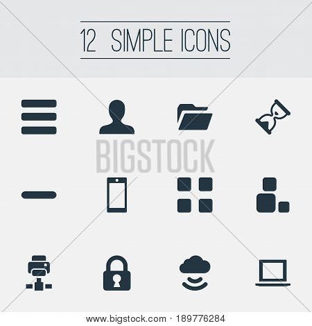Vector Illustration Set Of Simple Application Icons. Elements Dossier, Sand Timer, Printer Synonyms Sandglass, Download And Dossier.