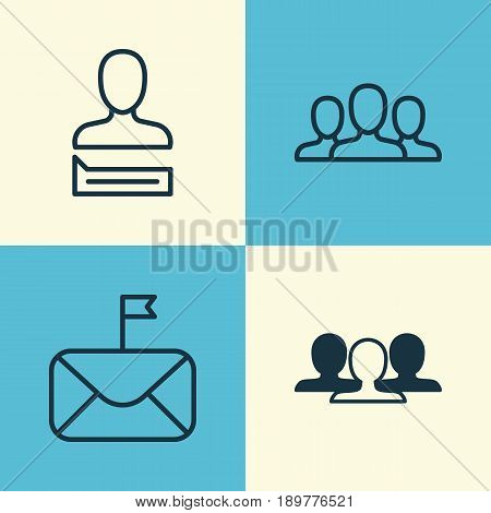 Communication Icons Set. Collection Of Chatting Person, Significant Letter, Group And Other Elements. Also Includes Symbols Such As Society, Mail, Clients.