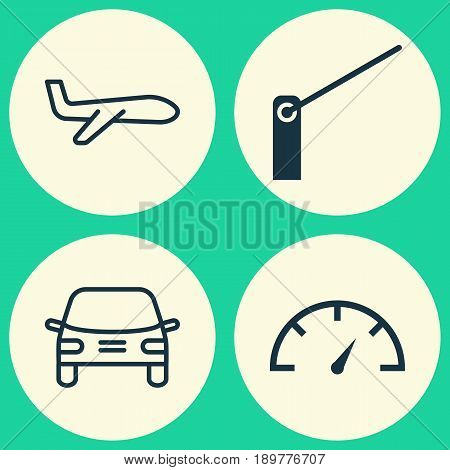 Delivery Icons Set. Collection Of Automobile, Roadblock, Air Transport And Other Elements. Also Includes Symbols Such As Roadblock, Transport, Vehicle.