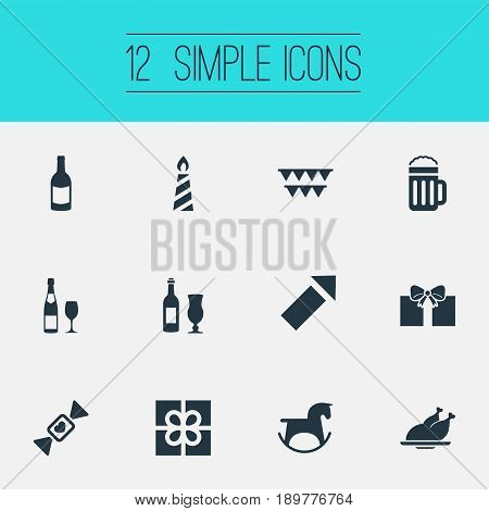 Vector Illustration Set Of Simple Celebration Icons. Elements Present, Champagne, Evening Event And Other Synonyms Champagne, Rocket And Pony.
