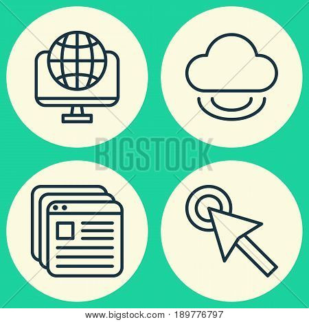 Internet Icons Set. Collection Of Cursor Tap, Computer Network, Website Bookmarks And Other Elements. Also Includes Symbols Such As Browser, Network, Bookmark.