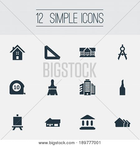 Vector Illustration Set Of Simple Architecture Icons. Elements Measurement, Superstructure, Booth And Other Synonyms Shack, Steeple And Besom.