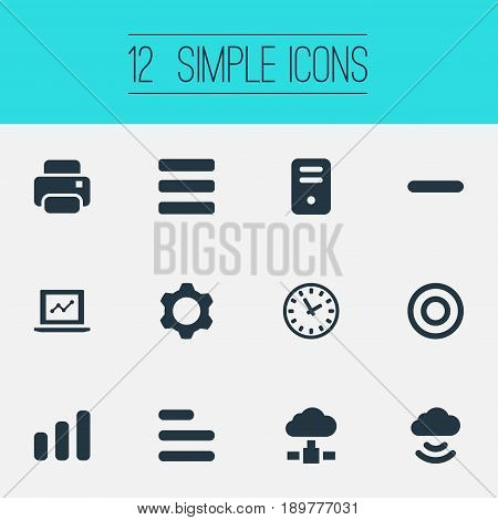 Vector Illustration Set Of Simple Practice Icons. Elements Cloud, Statistics, Cogwheel And Other Synonyms Bar, Print And Printout.