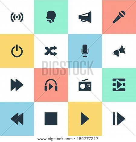 Vector Illustration Set Of Simple Radio Icons. Elements Playback, Singing, Control Panel And Other Synonyms Loudspeaker, Protest And Dj.