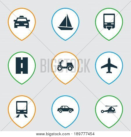 Shipment Icons Set. Collection Of Railroad, Cab, Skooter And Other Elements. Also Includes Symbols Such As Boat, Moped, Cab.