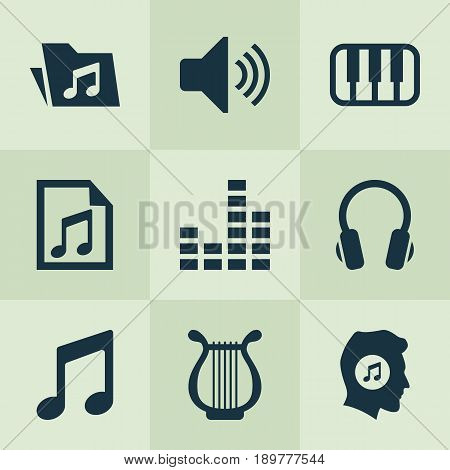 Music Icons Set. Collection Of Octave, Meloman, Earphone And Other Elements. Also Includes Symbols Such As Playlist, Sound, Controlling.