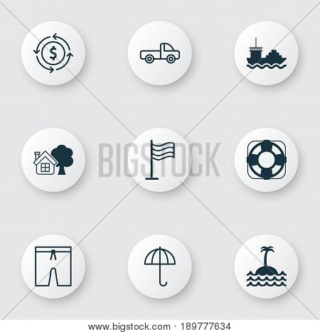 Tourism Icons Set. Collection Of Gingham, Sea Rescue, Money Recycle And Other Elements. Also Includes Symbols Such As Ship, Parasol, Sea.