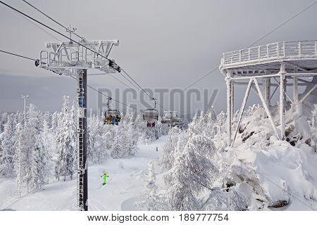 Chairlift in the ski resort