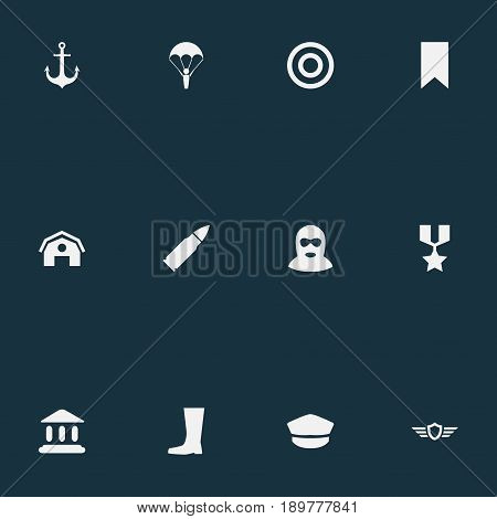 Vector Illustration Set Of Simple Military Icons. Elements Bookmark, Target, Courthouse And Other Synonyms Medal, Wing And Courthouse.