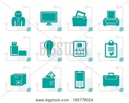 Stylized Business and office equipment icons - vector icon set