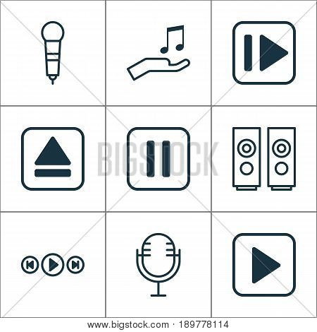Audio Icons Set. Collection Of Microphone, Start Song, Mute Song And Other Elements. Also Includes Symbols Such As Speakers, Extract, Sell.