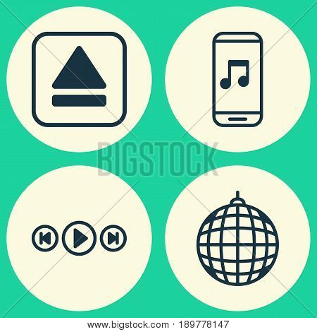 Audio Icons Set. Collection Of Audio Mobile, Audio Buttons, Extract Device And Other Elements. Also Includes Symbols Such As Party, Audio, Eject.